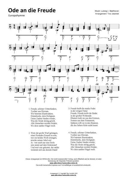 Ode an die Freude / Freude, schöner Götterfunken - Steirische Harmonika Noten www.akkordeon-harmonika-noten.de